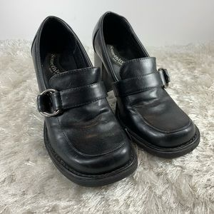 90s Skechers Chunky Heeled Loafer Pumps Sz 7 Black